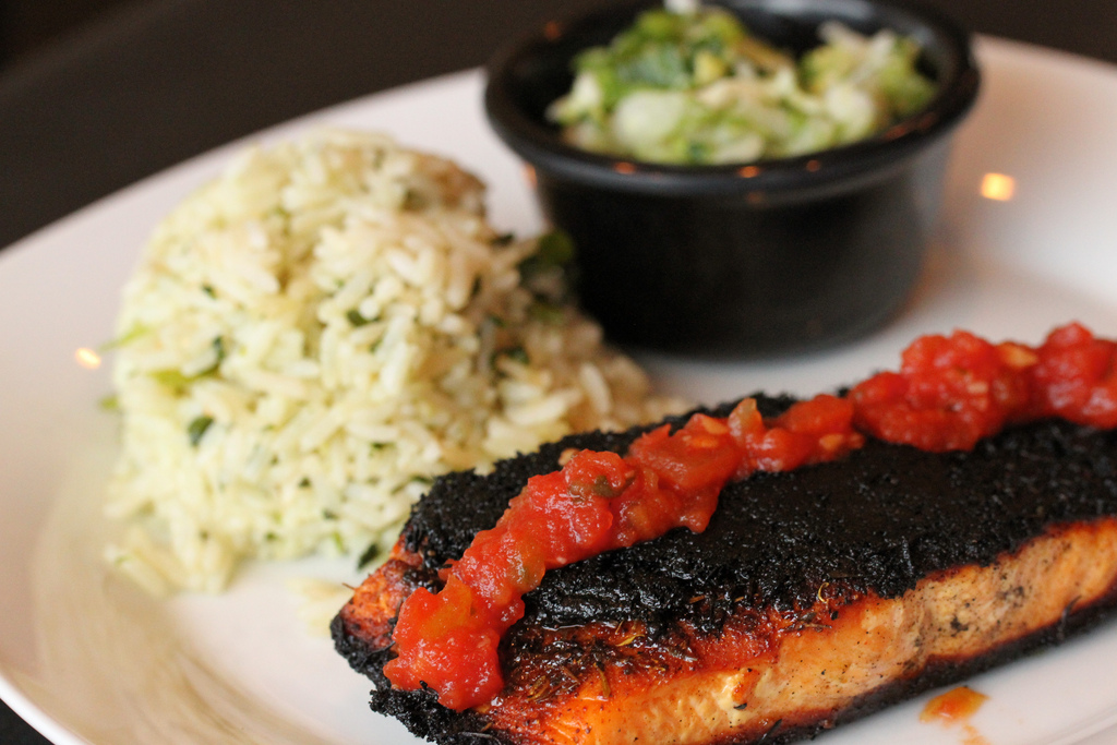 romantic dinner date - blackened salmon