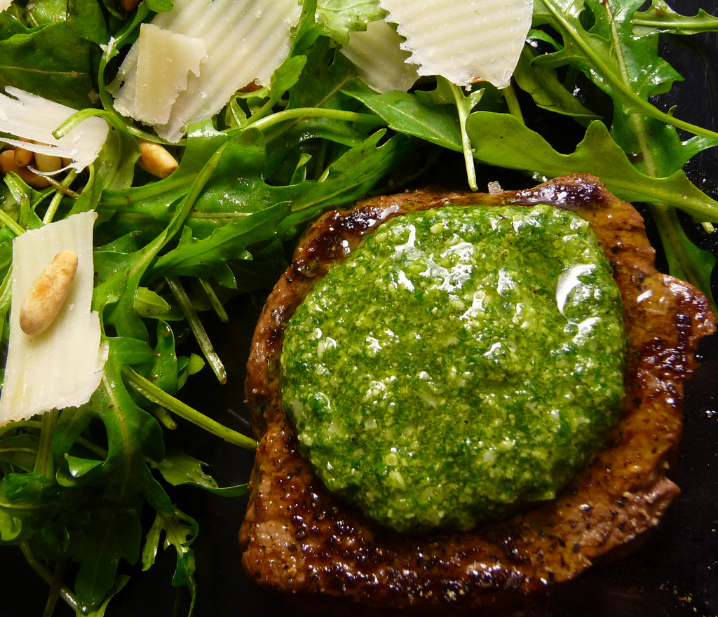 romantic dinner date - grilled steak pesto
